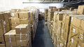 Warehouse. store  storehouse  hall cartons stock business Royalty Free Stock Photo