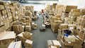 Warehouse. store. storehouse. hall cartons Royalty Free Stock Photo