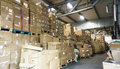 Warehouse. store. storehouse. hall cartons Royalty Free Stock Photo