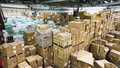 Warehouse  store. storehouse. hall cartons work environment Royalty Free Stock Photo