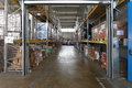 Warehousing storage shelving system in distribution warehouse Royalty Free Stock Photo