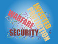 Warfare graphics words associated with cyber in colorful text against blue background Stock Photos