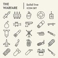 Warfare line icon set, weapon symbols collection, vector sketches, logo illustrations, arms signs linear pictograms