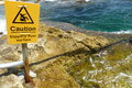 Waring sign for swimmers warning alerting to slippery ground surface Stock Image