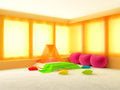Warm bedroom sunny and with orange curtains and pillows in the shape of heart Royalty Free Stock Image