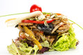 Warm beef salad of and vegetables in a restaurant Royalty Free Stock Images