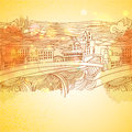 Warm colors linear drawing city background sketch art hand vintage for holidays and party invitations Stock Photo
