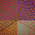 Warm colors shaded three dimensional maze box Royalty Free Stock Photo