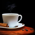Warm cup of coffee on wood background black Stock Image