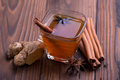 Warm drink for winter: tea, cinnamon, star anise, and ginger Royalty Free Stock Photo