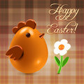 Warm easter greetings postcard with traditional chicken and flowers over checkered background Royalty Free Stock Images
