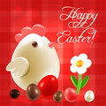 Warm easter greetings postcard with traditional eggs chicken and flowers over checkered background Stock Photos