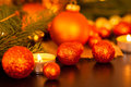 Warm gold and red Christmas candlelight background Royalty Free Stock Photo