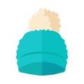 Warm Hat with Pompon Flat Design Illustration