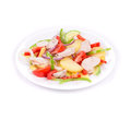 Warm meat salad with vegetables on a white background Stock Photography