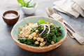 Warm salad with kale, chickpeas and quinoa Royalty Free Stock Photo