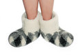 Warm slippers soft on feet Stock Photography