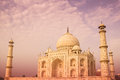 Warm taj mahal seen from an angle with a color tone Royalty Free Stock Photos