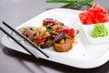 Warm thai salad on white plate Royalty Free Stock Photo