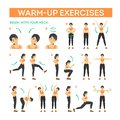 Warm-up exercise set before workout. Stretch muscles Royalty Free Stock Photo