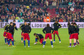 Warm-up of FC Barcelona players Royalty Free Stock Photo