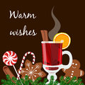 Warm wishes postcard. Mulled wine with gingerbread cookies