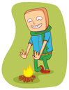 Warming campfire illustration of a man near a available in vector eps file Royalty Free Stock Photography