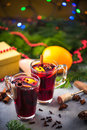 Warming mulled wine on Chrstmas table