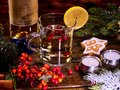 Warming tea with berries and alcohol. Royalty Free Stock Photo