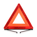Warning accident traffic sign red triangle white background Royalty Free Stock Photo
