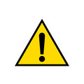 Warning, attention yellow triangle sign icon, isolated on white background