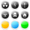 Warning circle icon set Stock Photos