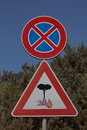 WARNING Fire hazard - road signs Royalty Free Stock Photo