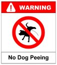 Warning forbidden sign no dog peeing. Vector illustration isolated on white. Red prohibition symbol for public places. No pissing