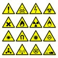 Warning hazard signs, danger symbols collection Royalty Free Stock Photo