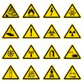 Warning and hazard symbols on yellow triangles vector collection Royalty Free Stock Photo