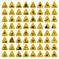 Warning Hazard Triangle Signs Set. Vector illustration. Yellow symbols isolated on white Royalty Free Stock Photo