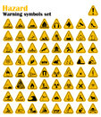 Warning Hazard Triangle Signs Set. Vector illustration. Yellow symbols on white
