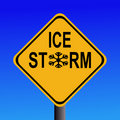 Warning Ice storm sign Stock Image