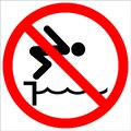 Warning notice sign do not jump pool Royalty Free Stock Photo