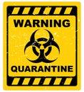 Warning quarantine sign