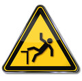 Warning of risk of falls and caution Stock Images