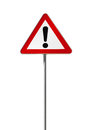 Warning road sign with an exclamation mark isolated on white Royalty Free Stock Photography