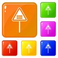 Warning road sign icons set vector color