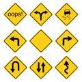 Warning road signs set Royalty Free Stock Photo
