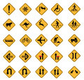 Warning road signs traffic vector set Stock Photos