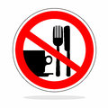 Warning sign abstract no eating with crossed out cutlery Stock Photo