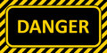 Warning Sign banner danger, with a striped frame horizontal badge text danger yellow and black color