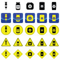 Warning sign for bio hazard in syringe and containers Royalty Free Stock Photo
