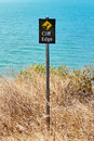 Warning sign cliff edge Royalty Free Stock Photo